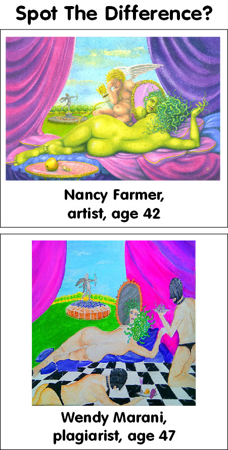 Painting by Nancy Farmer, plagiarism by Wendy Marani 2
