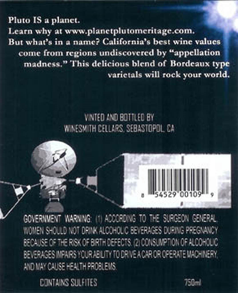 Planet Pluto Wine Label Back