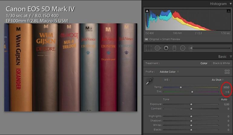 Daglicht instelling op de EOS 5D mark IV geeft een witbalans van 5050K