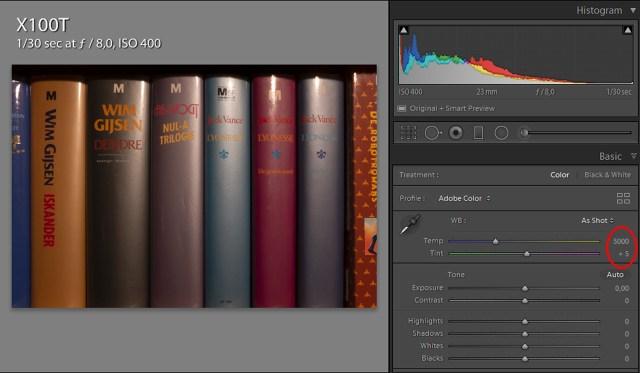 Daglicht instelling op de Fujifilm X100t geeft een witbalans van 5000K