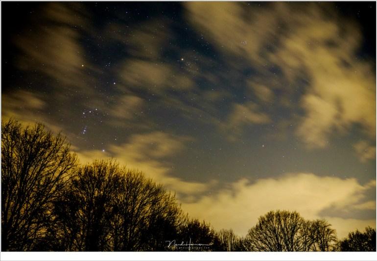 Het sterrenbeeld Orion en Stier aan de winter sterrenhemel. Een stuk onder de Pleiaden, het zevengesternte, staat de komeet. Als je niet weet dat die er staat, zie je 'm niet.
