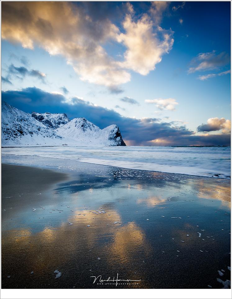 Unstrad strand, tijdens zonsondergang