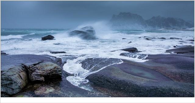 Storm op Uttakleiv met winden tot 30 m/s