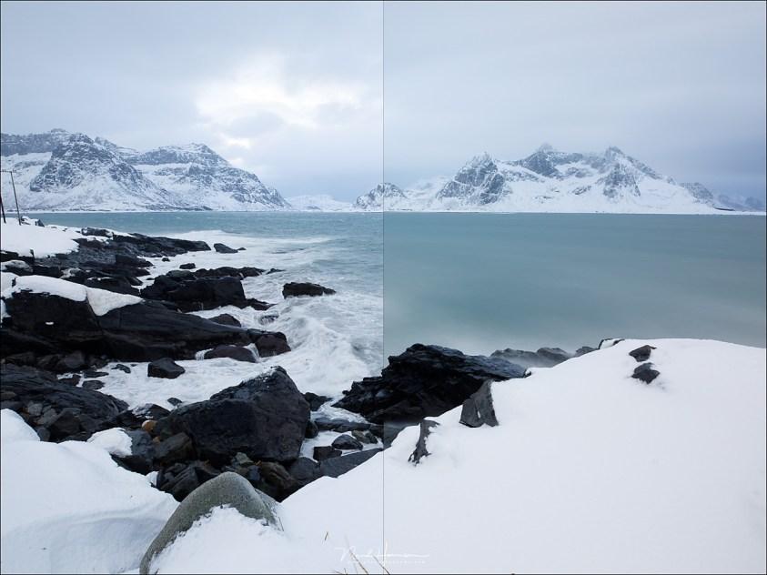 Het 10 stop grijsfilter heeft vrijwel (of helemaal) geen kleurzweem. Beide foto's zijn onbewerkt, gefotografeerd met witbalans op 5000K.