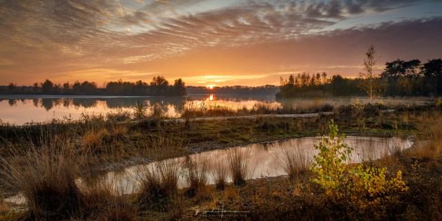 Een prachtige zonsondergang bij Nederheide, als afsluiting van een fijne wandeling op een zondagmiddag.