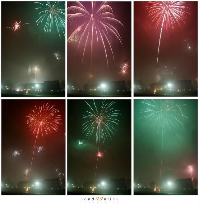 maak veel foto's van vuurwerk