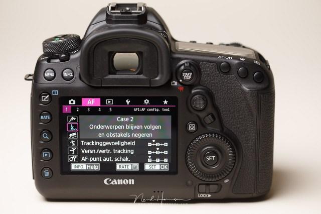 Het autofocus menu van de Canon EOS 5D mark IV is heel uitgebreid. Voor elke soort actie of elke situatie kan er een optimale instelling gevonden worden.