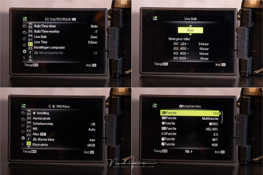 Een paar menu pagina's van de Olympus OM-D E-M1 II