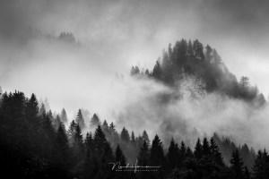Zwartwit landschap uit Oostenrijk