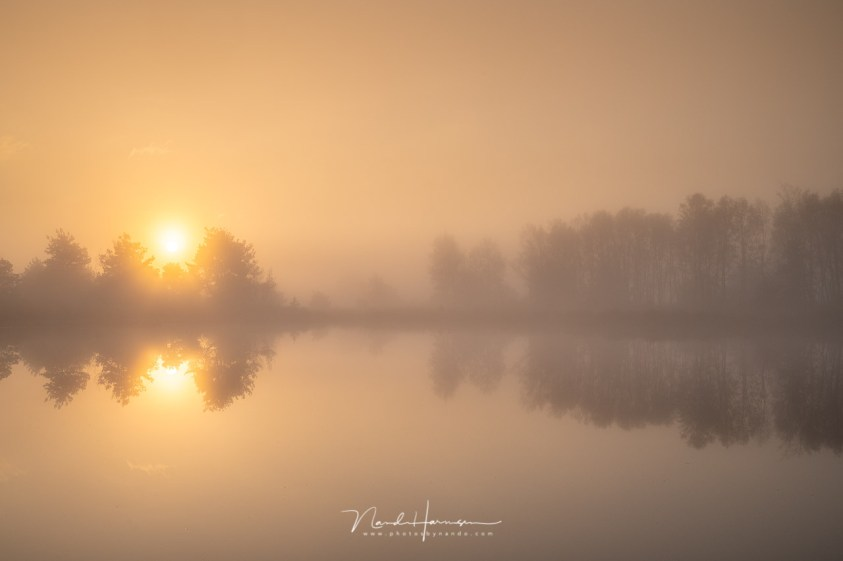 Een landschap gehuld in de ochtendmist. Een magisch moment
