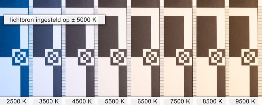 De verschillende kleurtemperatuur instellingen onder licht van 5000K