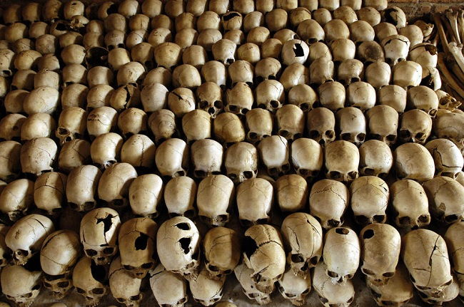 Skulls of victims of the 1994 Rwandan genocide