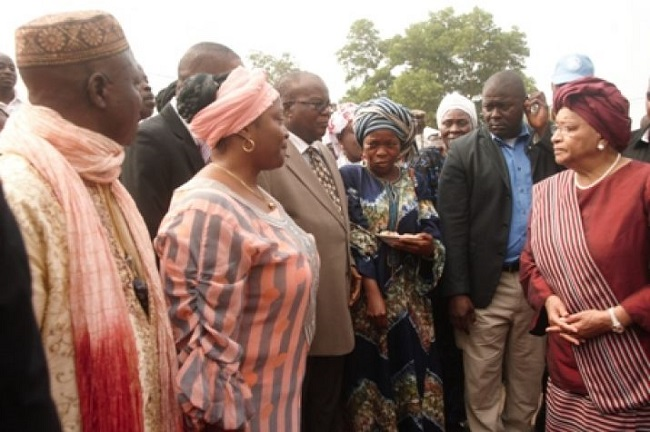 Bong County officials welcome President Sirleaf to the county