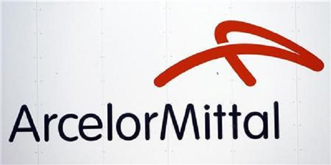 A logo of ArcelorMittal steel group is seen at the Les Chantiers de l'Atlantique shipyards in Saint Nazaire