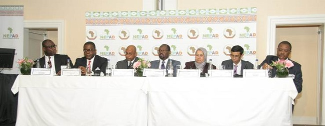 (l-r) Africa Investor CEO, Hubert Danso;  AfDB Vice President Infrastructure, Solomon Asamoah; NEPAD Agency CEO, Dr Ibrahim Mayaki; Ambassador Momar Diop; AUC Commissioner, Dr Elham Mahmoud; NEPAD Business Foundation Chairman, Stanley Subramoney, Atlas Mara escort Chairman, Arnold Ekpe