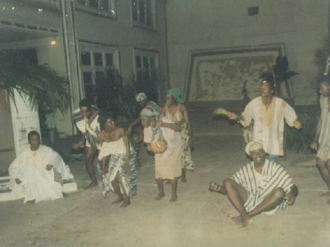 "Above is a scene from Joe Gbaba's ""The Minstrel's Tales"" performed by Dehkontee Artists Theatre at the Centennial Memorial Pavilion in 1992. Promoting cultural awareness is very crucial to maintaining stability, national unity, and sustainable peace, rehabilitation and reconciliation in a post war society. We believe that with the requisite financial, material, and moral supports in place we can do an excellent job of once again reuniting our people and creating national consciousness through the promotion of our national hegemony via the performing arts--through drama, music, dance, etc."
