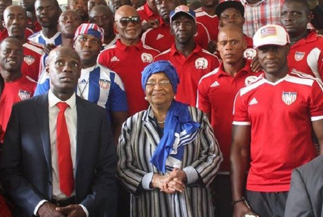 President Ellen Johnson Sirleaf, Minister Nagbe (on her right) and the Lone Star
