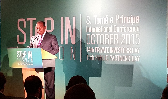 Prime Minister Patrice Emery Trovoada speaks at the conference in London