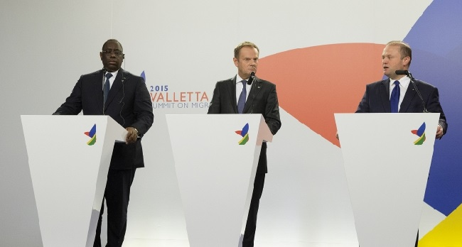 Macky Sall, President of Senegal, Donald Tusk, President of the European Council and Joseph Muscat, Maltese Prime Minister at the Valletta Summit Photo: European Union