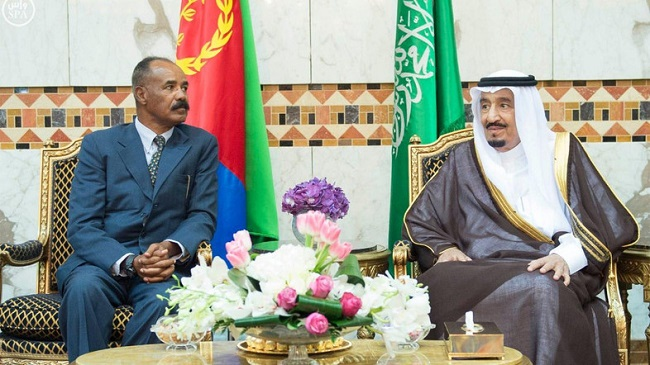 Eritrean President Isaias Afwerki (left) and King Salman of Saudi Arabia