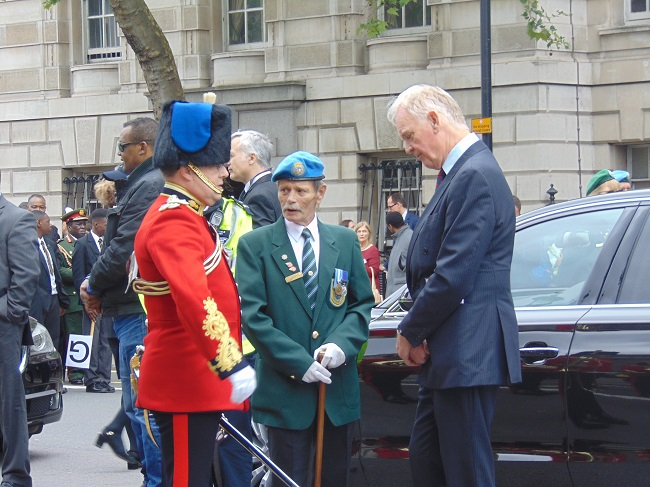 UNA-UK Chair David Wardrop chats with members of the band of the Royal Engineering Corps