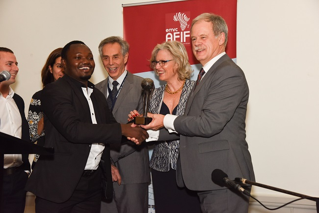 AFIF 2015 Entrepreneurship Award winner - Lazaro Mwakipesile (left), head of Raphael Group of Tanzania