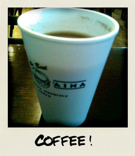 Having a coffee at Kua Aina, along with a Polaroid filter on the camera app.
