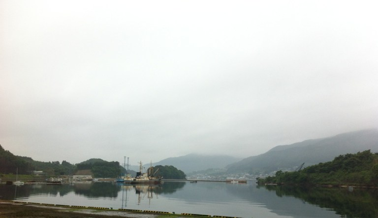 Ofunato harbour - a beautiful fjord like harbour with forested outcrops.