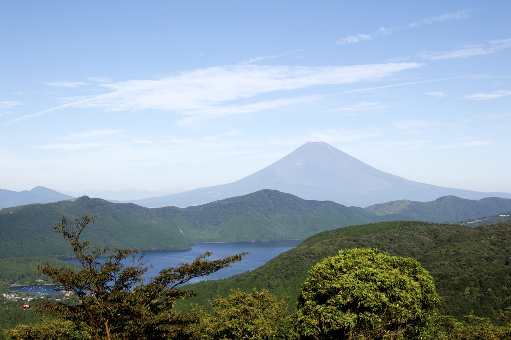 Mount Fuji on a clear day from the top of the Turnpike