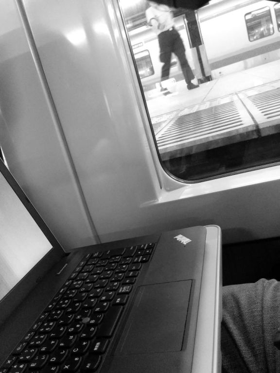 the laptop on the train for more writing