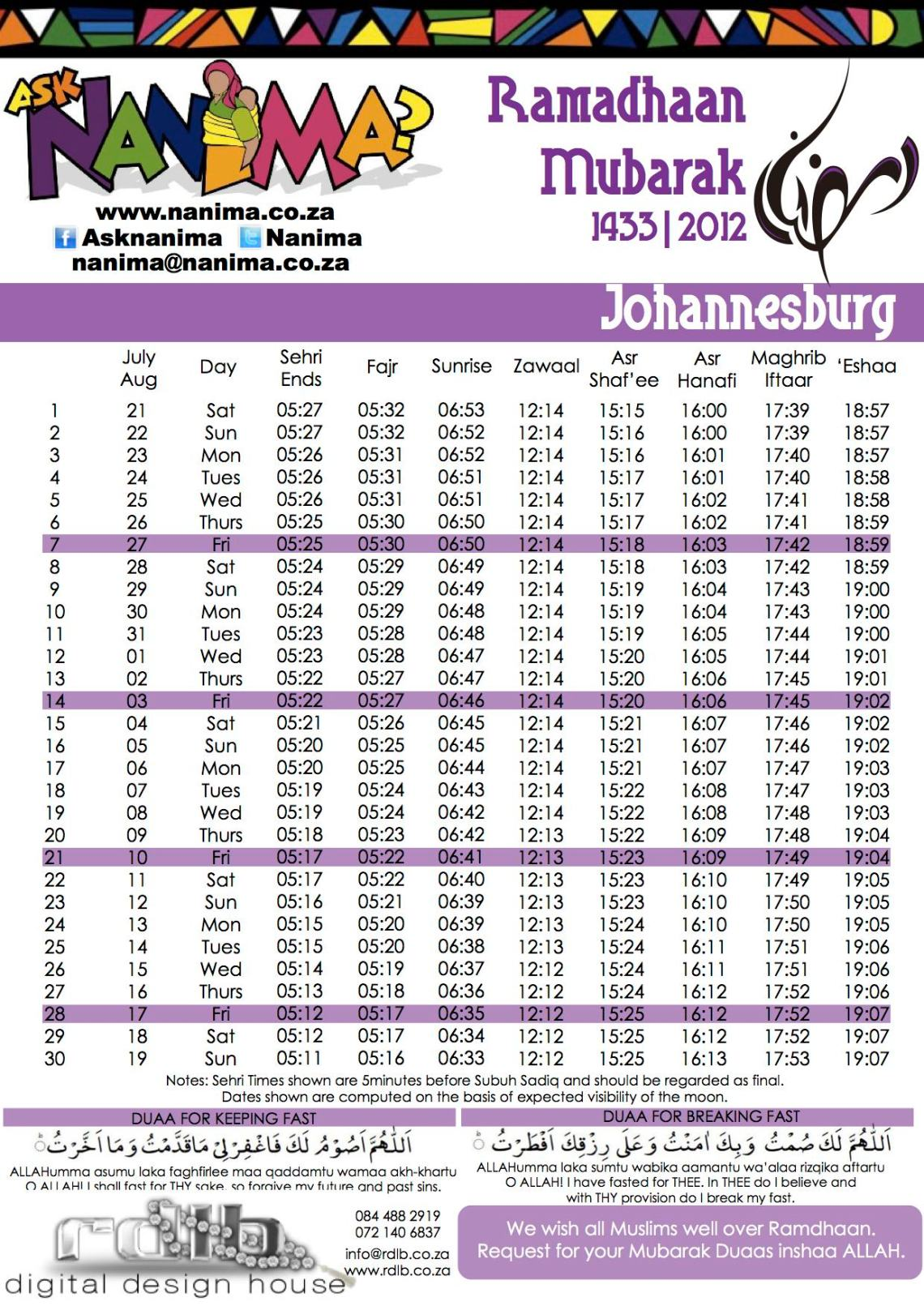 Image Result For Ramadan Time Table South Africa