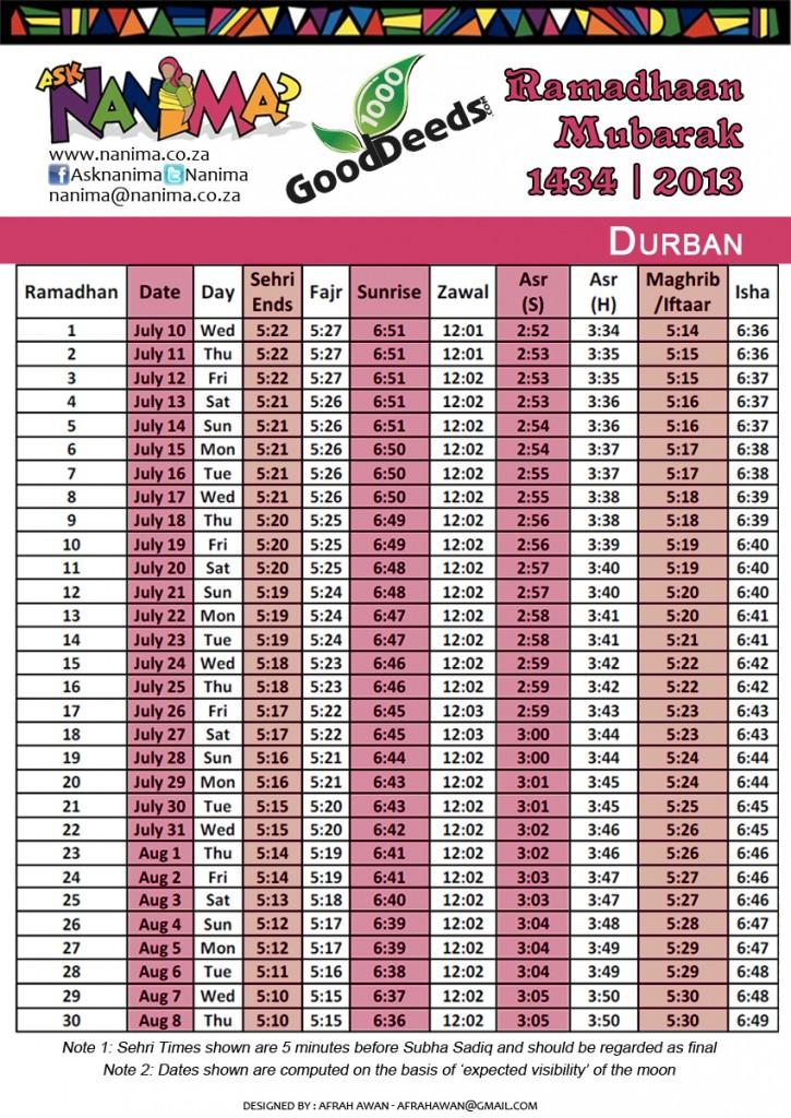 Image Result For Ramadan Calendar Durban