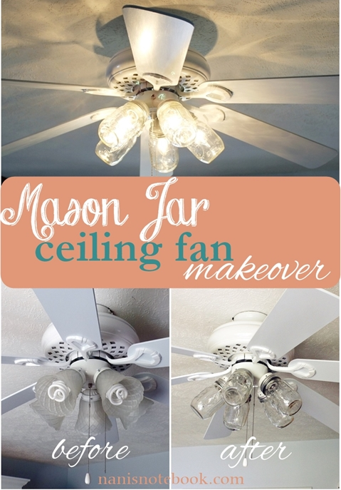 Mason Jar Ceiling Fan Makeover