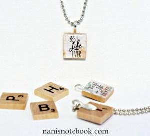 Scrabble tile jewelry