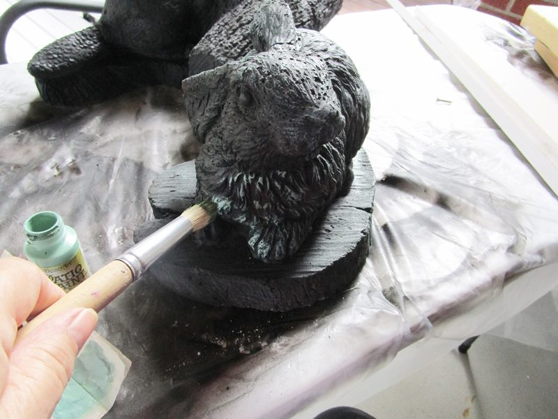 how to paint cement yard statues