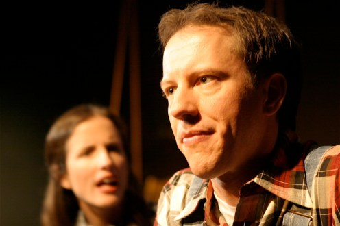 "Staci Armao as May and Gary Clemmer as Raleigh in Actors Co-op production of ""Last Train to Nibroc"" by Arlene Hutton, Directed by Nan McNamara"