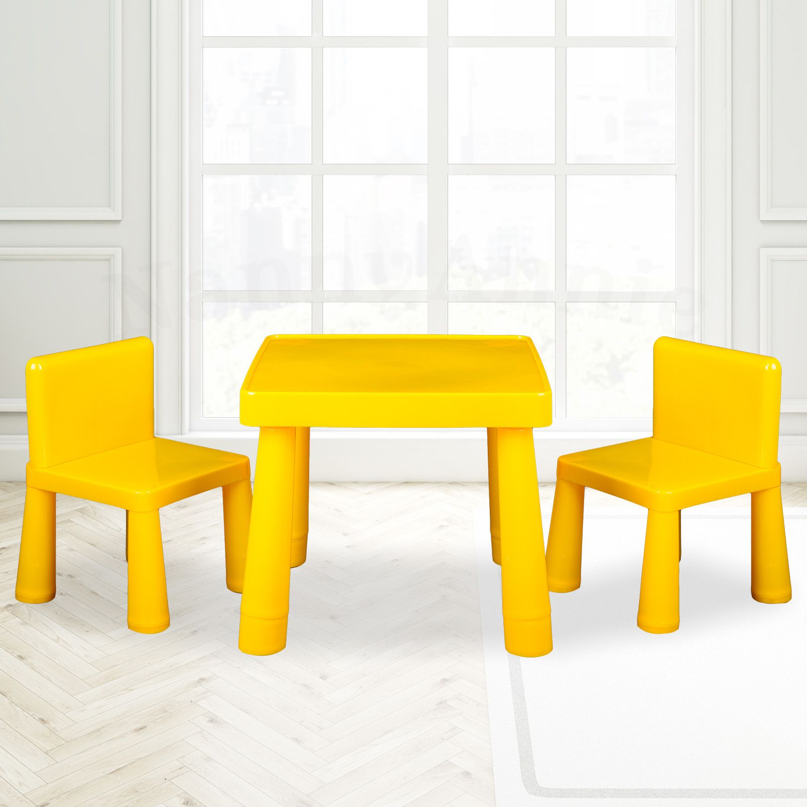 Kids Table Amp Chair Play Furniture Set Plastic Activity Dining Chairs Yellow