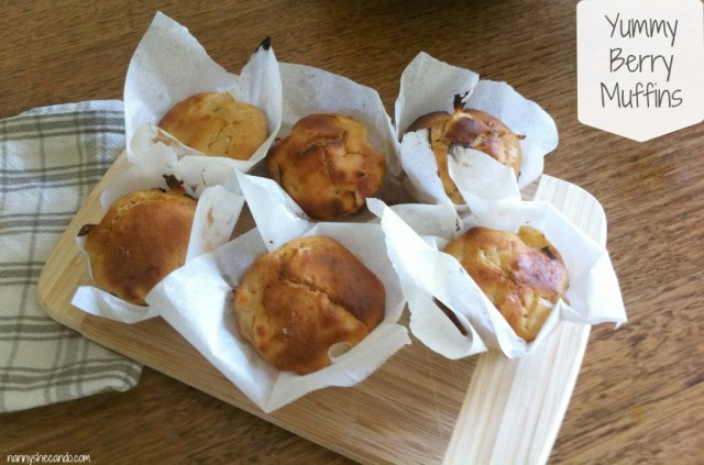 muffins, recipe, cooking, berry, kids, nanny life