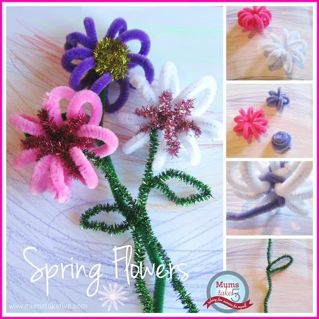 step into spring, pipe cleaner flowers, mums take five