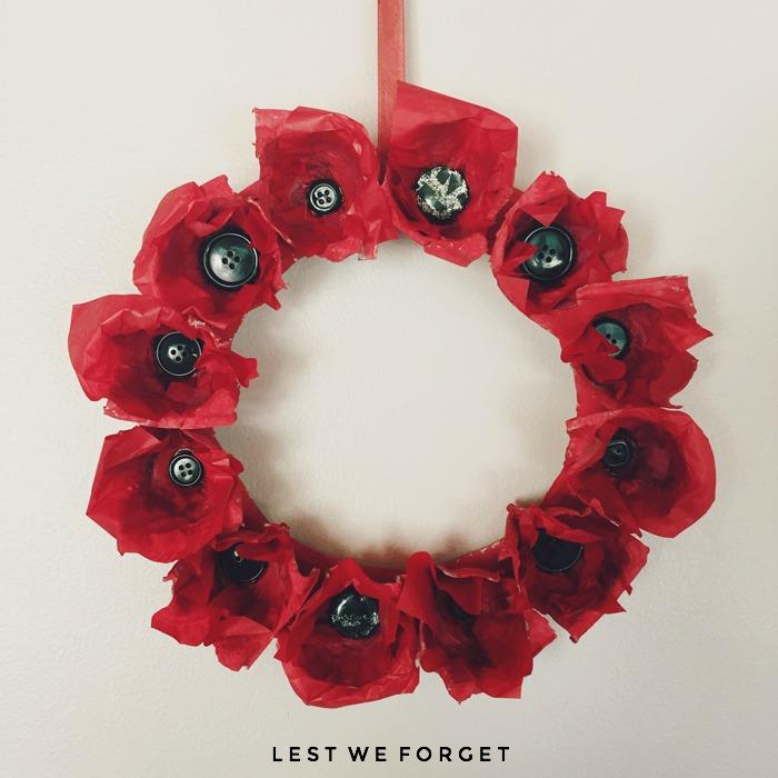 Anzac Day Easy Kids Craft, Anzac Day, Anzac Paper Poppy Wreath, NANNYSHECANDO
