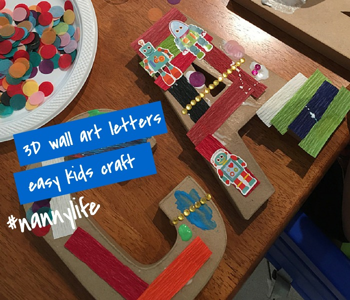 Easy Kids Craft 3D Wall Art Letters NANNY SHECANDO