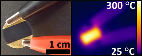 A simple heating device made by the researchers from unrefined pulverized coal, shown at left under visible light and at right in infrared light, showing the heat produced by the device