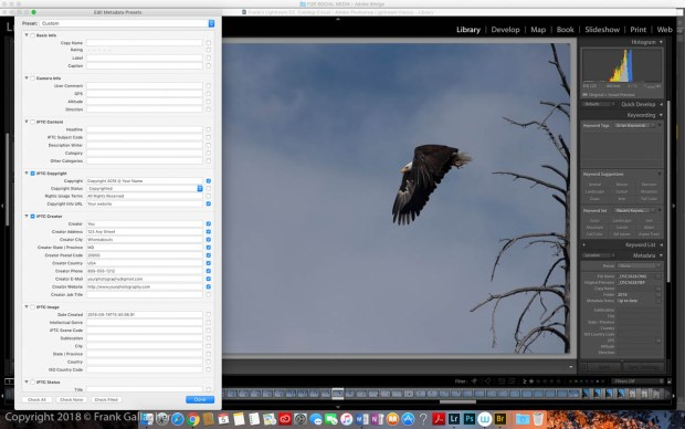 In Lightroom, Bridge and other software, you can apply IPTC metadata with presets