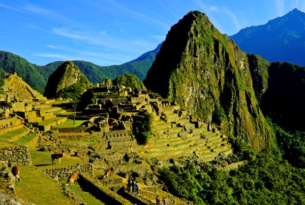 Grand view of ancient Machu Picchu, last refuge of the vanished Inca civilization in the Andes Mountains, Peru.