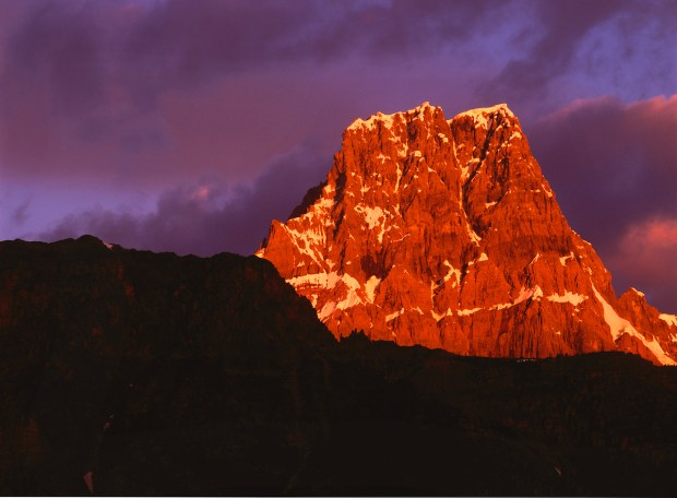 Just one of Canada's innumerable peaks, the last light of day shows this one to its best advantage.
