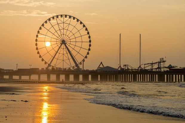"Sunrise behind ""The Wheel"" on Steel Pier, Atlantic City Beach, Atlantic City, NJ"