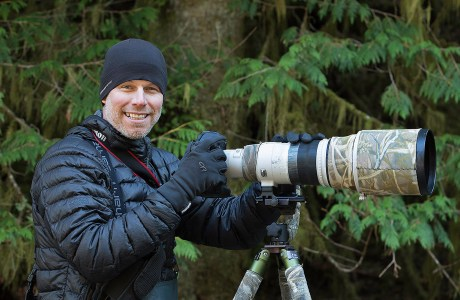 Photographer John E. Marriott in the rainforest.