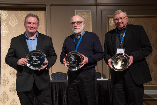 Left to right: Joel Sartore, John Shaw and George Lepp receive NANPA's Lifetime Achievement Award.