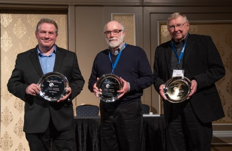 Joel Sartore, John Shaw and George Lepp (left to right) receive NANPA's Lifetime Achievement Award at NANPA's 2019 Nature Photography Summit in Las Vegas.