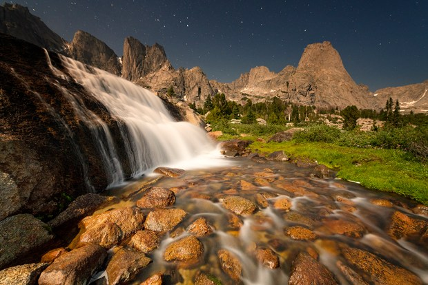 "Showcase 2019 Top 100 winner: ""Wilderness Waterfall Under a Summer Moon, Popo Agie Wilderness, Wind River Mountains, Wyoming"" © Jeff Vanuga."